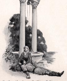 By the side of a well, King Pellinore saw a lady sitting, holding a wounded knight