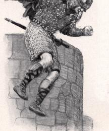 Balin jumped over the wall of the castle