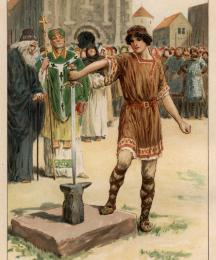 (Frontispiece) There, before all the people, Arthur pulled the sword out of the stone