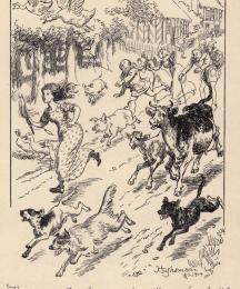 (Frontispiece) The cow ran, the calf ran...