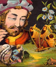 Tom Thumb Mounts a Butterfly, and Hopes to Get Away
