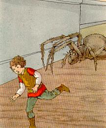Tom ran; the spider panted close