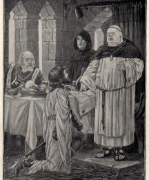 Sir Richard knelt in courteous salutation