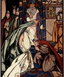 Wondering and Awe-Struck, Sir Gawain Sank Before the Lady On One Knee