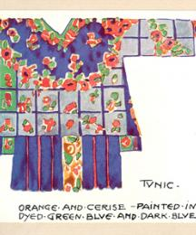 Tunic - orange and cerise - painted in dyed green blue and dark blue.