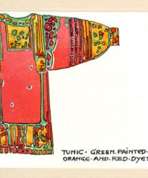 Tunic - green painted in orange and red dyes.