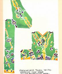 Sleeveless tunic with hanging side sash - yellow represents wax; dyed green, blue painted in.