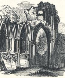 Part of the Church of St. Mary's Abbey, York, Tailpiece to A True Tale of Robin Hood by Martin Parker