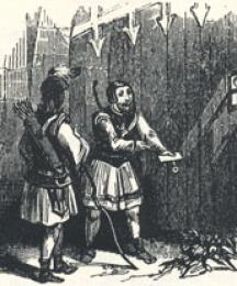 Adam Bell and Clym Parlay at the Gates, Headpiece to the Second Fit of Adam Bell, Clym of the Clough, and Wyllyam of Cloudeslie