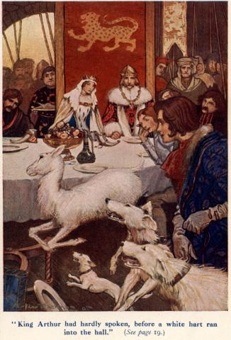 """King Arthur had hardly spoken, before a white hart ran ..."