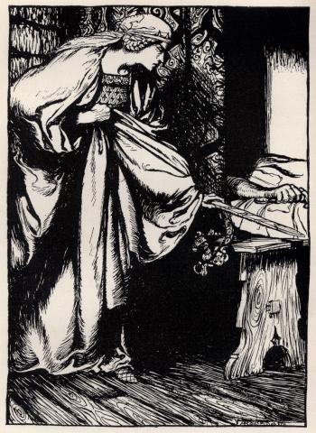 How Queen Morgan le Fay stole away the scabbard from Arthur