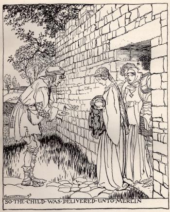 So the child was delivered unto Merlin
