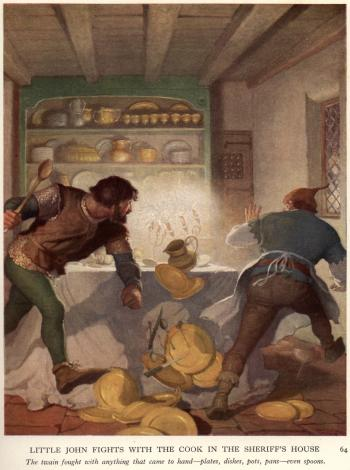 Little John Fights with the Cook in the Sheriff's House