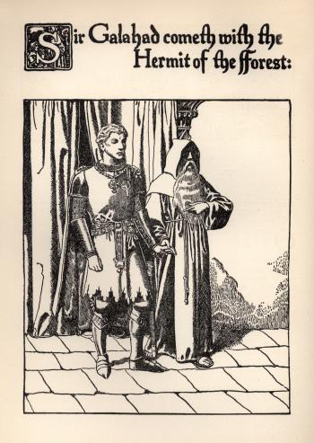 Sir Galahad Cometh with the Hermit of the Forest