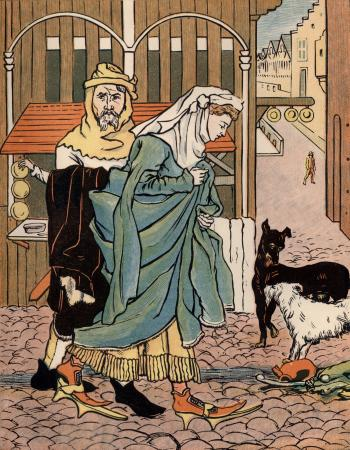 A Lady Crossing the Street in the Olden Time