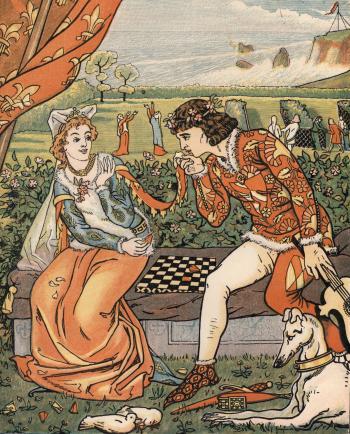 Dorigen and Aurelius in the Garden