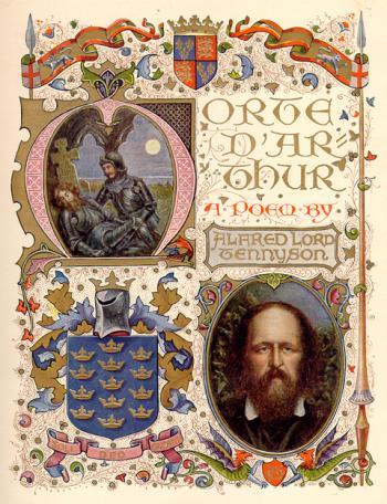 Title Page with images of Tennyson and the Dying Arthur
