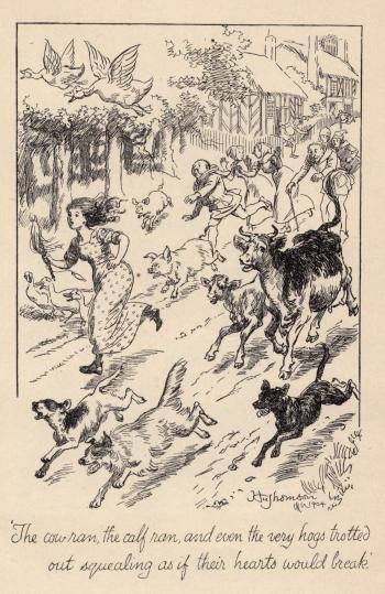 "(Frontispiece) ""The cow ran, the calf ran..."""
