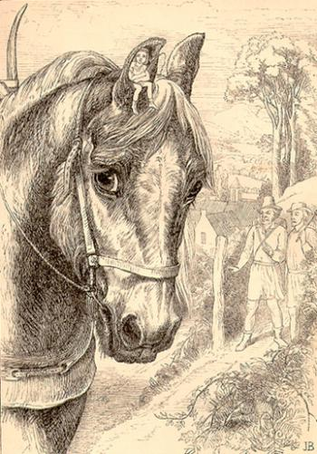 Never you fear, father; I will sit in the horse's ear and tell him which way to go.