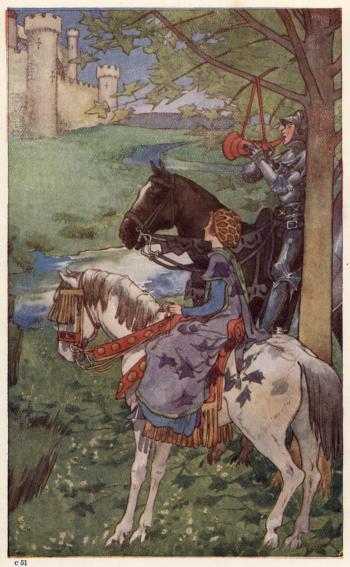Sir Beaumains blows the horn