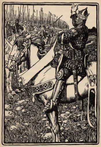 """King Arthur raising his hand for silence"""