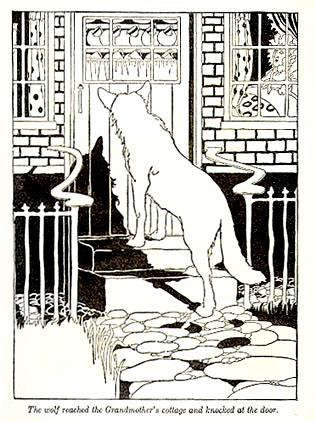 """The wolf reached the Grandmother's cottage and knocked at the door."""