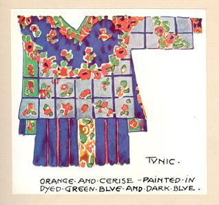 """Tunic - orange and cerise - painted in dyed green blue and dark blue."""