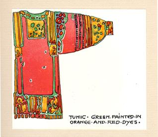 """""""Tunic - green painted in orange and red dyes."""""""