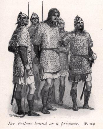 Sir Pelleas bound as a prisoner