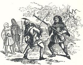 """Encounter Between Robin and the Pinder, Headpiece to """"The Jolly Pinder of Wakefield"""""""