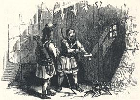 "Adam Bell and Clym Parlay at the Gates, Headpiece to the Second Fit of ""Adam Bell, Clym of the Clough, and Wyllyam of Cloudeslie"""