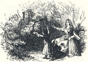 "Cloudeslie's Return to His Wife, Headpiece to the Third Fit of ""Adam Bell, Clym of the Clough, and Wyllyam of Cloudeslie"""