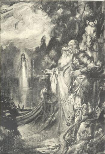 King Arthur and Merlin at the Lake