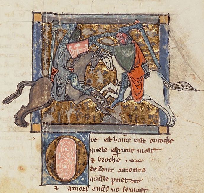 Yvain dueling with a knight. Image courtesy of Princeton University Libraries